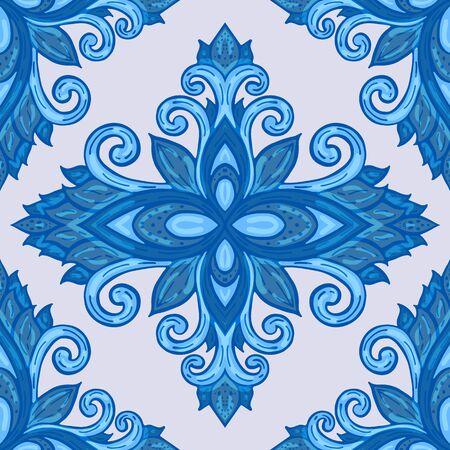 Azulejos ceramic tile design. Talavera tracery motif. Unique creative endless fill swatch. Portuguese, Spanish, Mexican, Brazilian folklore ornament. Ilustração