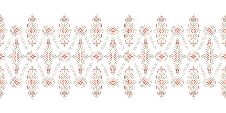 African ornament seamless stripe pattern. Polynesian decorative border. Aztec Peru Mexican Scandinavian traditional decor. Standard-Bild - 127898719