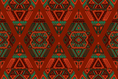 Seamless Pattern in Ethnic Style. Trendy hand drawn boho tile. Creative tribal endless ornament, perfect for textile design, wrapping paper, wallpaper or site background. Standard-Bild - 127898721