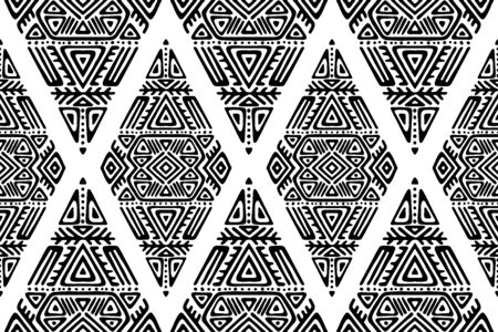 Seamless Pattern in Ethnic Style. Trendy hand drawn boho tile. Creative tribal endless ornament, perfect for textile design, wrapping paper, wallpaper or site background. Standard-Bild - 127898722