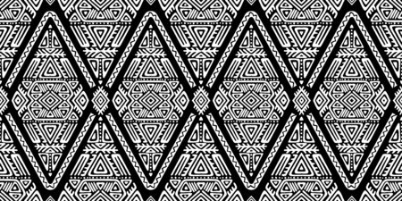 Seamless Pattern in Ethnic Style. Trendy hand drawn boho tile. Creative tribal endless ornament, perfect for textile design, wrapping paper, wallpaper or site background.