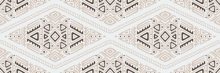 Seamless Pattern in Ethnic Style. Trendy hand drawn boho tile.
