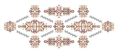 Ethnic style vector illustration African ornament Polynesian handicraft Scandinav embroidery  イラスト・ベクター素材