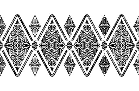 African embroidery ornament seamless stripe pattern. Polynesian decorative border. Aztec Peru Mexican Scandinavian traditional decor. Ilustração