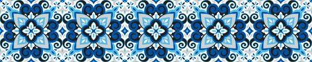 Azulejos Keramikfliesendesign. Talavera Maßwerkmotiv. Einzigartiges kreatives endloses Füllmuster. Portugiesische, spanische, mexikanische, brasilianische Folklore-Verzierung. Ethnische Art Vektor handgezeichnete nahtlose Muster.