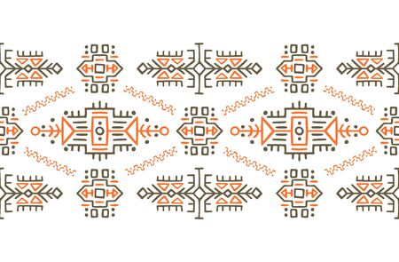African ornament seamless stripe pattern. Polynesian decorative border. Aztec Peru Mexican Scandinavian traditional decor.