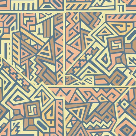 Creative ethnic style vector seamless pattern. Unique geometric vector swatch. Perfect for screen background, site backdrop, wrapping paper, wallpaper, textile and surface design. Trendy boho tile.  イラスト・ベクター素材