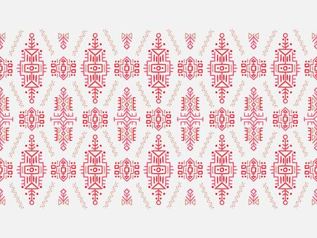 African ornament seamless stripe pattern. Polynesian decorative border. Aztec Peru Mexican Scandinavian traditional decor.