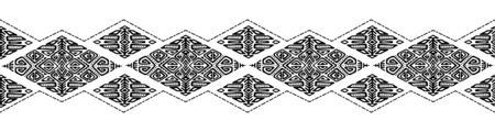 African embroidery ornament seamless stripe pattern. Polynesian decorative border. Aztec Peru Mexican Scandinavian traditional decor. Stock fotó - 130414116