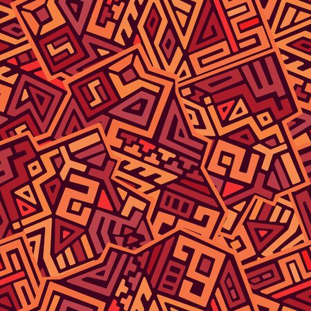 Creative ethnic style vector seamless pattern. Unique geometric vector swatch. Perfect for screen background, site backdrop, wrapping paper, wallpaper, textile and surface design. Trendy boho tile. Illusztráció