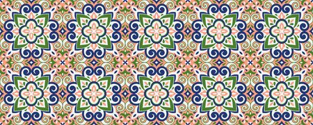 Azulejos ceramic tile design. Talavera tracery motif. Unique creative endless fill swatch. Portuguese, Spanish, Mexican, Brazilian folklore ornament. Ethnic style vector hand drawn seamless pattern. Stock fotó - 130414498