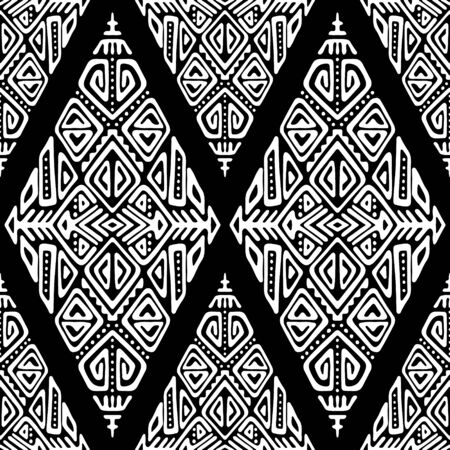 Vector Seamless Pattern in Ethnic Style. Trendy hand drawn boho tile. Creative tribal endless ornament, perfect for textile design, wrapping paper, wallpaper or site background.