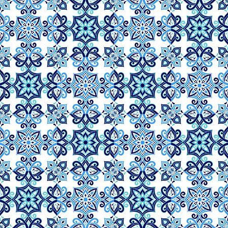 Azulejos ceramic tile design. Talavera tracery motif. Unique creative endless fill swatch. Portuguese, Spanish, Mexican, Brazilian folklore ornament. Ethnic style vector hand drawn seamless pattern.