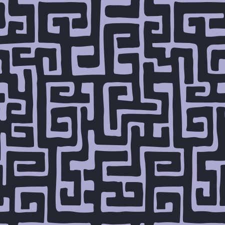 African hand drawn ethnic style vector seamless pattern. Kuba geometric textile swatch. Trendy boho tribal tile.