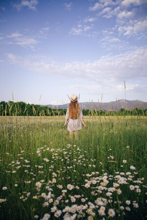 A young girl in a hat stands in a daisy field among flowers and spikelets. The concept of summer days and traveling