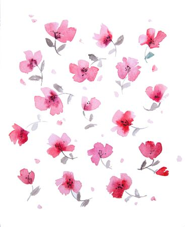 Light watercolor pattern of delicate pink abstract flowers