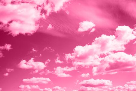 The sky with clouds painted in a trendy shade of pink.