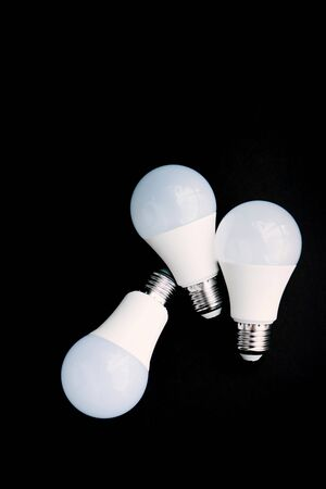 LED lamps on a black background. Isolated. Eco concept of saving electricity