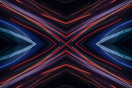 Colorful pattern of red and blue dynamic neon lines. Modern background. Art concept of lighting effects.