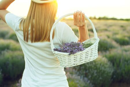 A girl in a straw hat and white clothes is holding a basket of lavender over her shoulder Zdjęcie Seryjne
