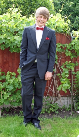 teenage boy in prom tux photo