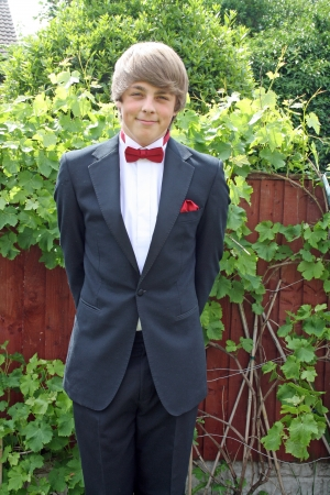 teenager in prom suit photo