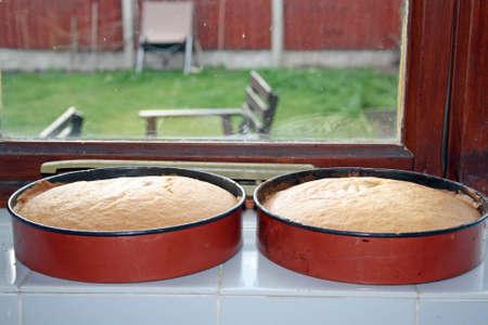 sponge cake cooling in a window photo