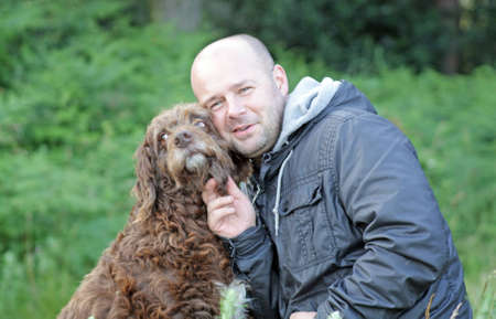 man's best friend: man and his dog, mans best friend Stock Photo