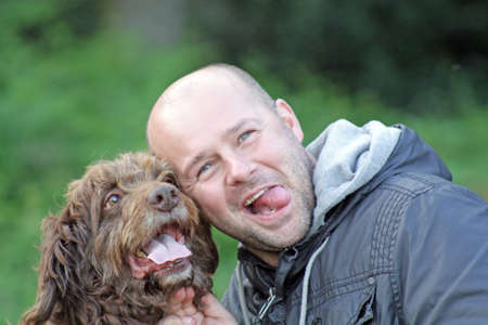 man and his dog, mans best friend Stock Photo