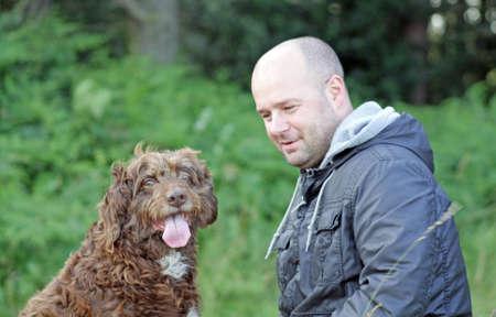 mans best friend: man and his dog, mans best friend Stock Photo
