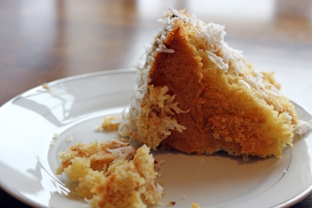 slice of coconut cake photo