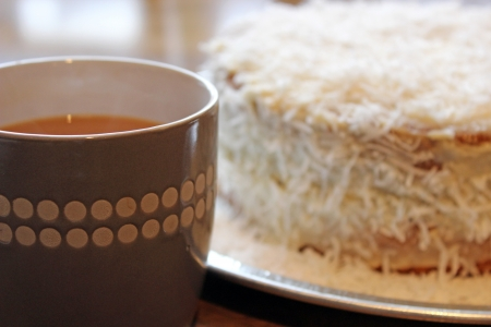 coconut cake and tea photo