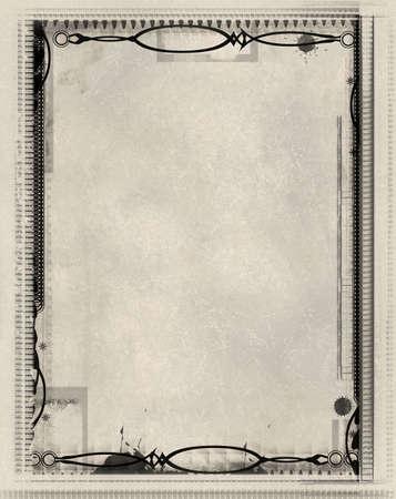 textured paper background: Computer designed grunge border and  textured paper  background