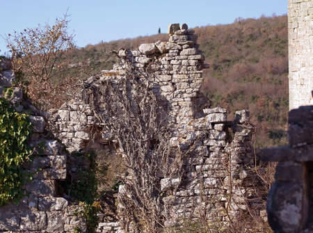 forgotten: Ruins of a old abandoned stone house on a hill