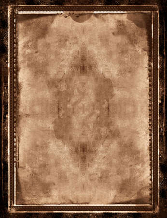 Computer designed grunge border and aged textured paper background   with space for your image or text
