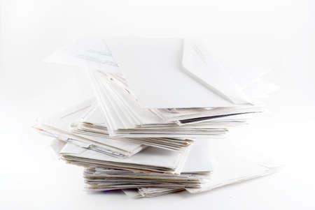 Stack of envelopes ( bills)  on white background