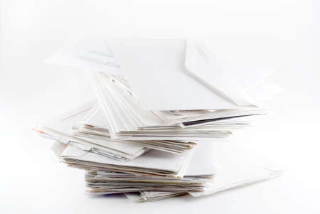 Stack of envelopes ( bills)  on white background