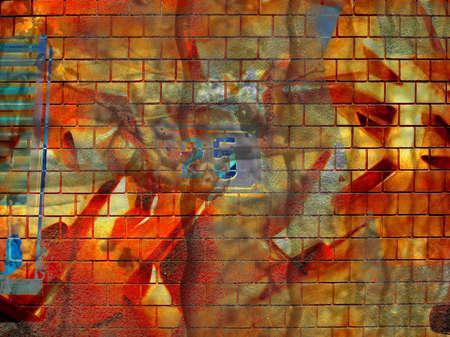 airbrush: Computer designed grunge graffiti brick wall background
