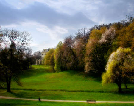 Landscape of a beautiful colorful park in autumn , soft focus photo Stock Photo - 2660240