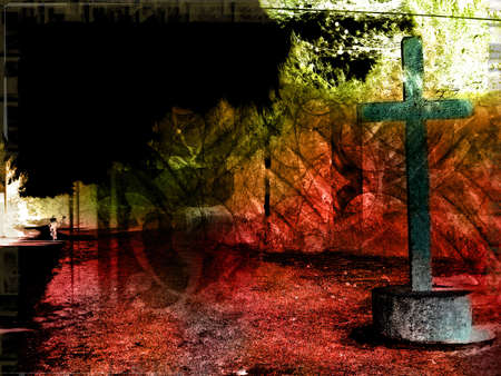 black worship: Computer designed highly detailed grunge textured religious background