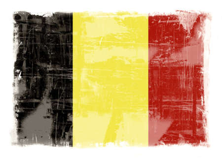 highly: Computer designed highly detailed grunge illustration - Flag of Belgium Stock Photo