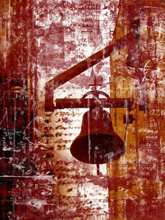 church bell: Computer designed highly detailed grunge textured abstract background - church bell Stock Photo