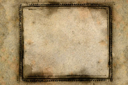Computer designed highly detailed grunge textured border and aged paper background with space for your text or image photo