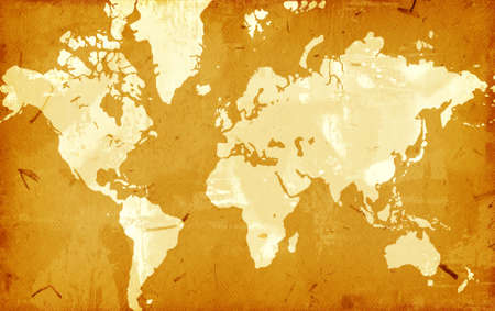 Computer designed highly detailed grunge world map background Stock Photo