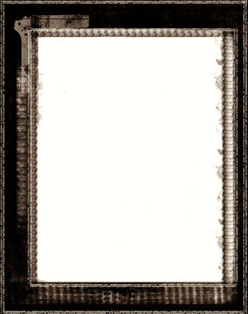 highly: Computer designed highly detailed aged  border  over white. Nice grunge layer for your projects. Stock Photo