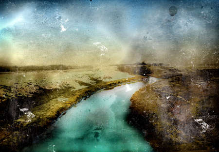 Computer designed highly detailed grunge textured collage - winter lanscape photo