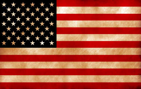 Computer designed highly detailed grunge style  illustration of waving  USA flag