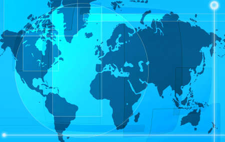 designed: Computer designed blue world map background