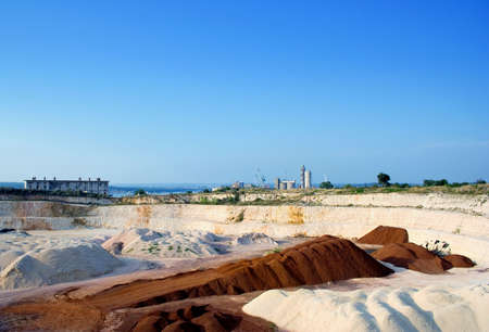 sand quarry: Big stone and sand quarry on a sunny day