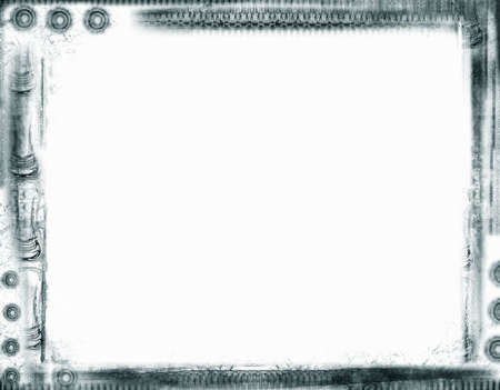grunge layer: Computer designed highly detailed aged  border  over white. Nice grunge layer for your projects. Stock Photo